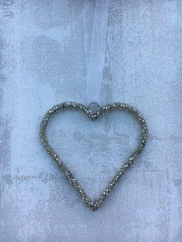 Beaded heart hanging decoration - Home Bee