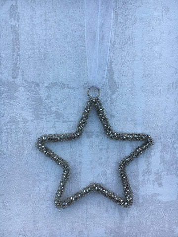 Beaded star hanging decoration