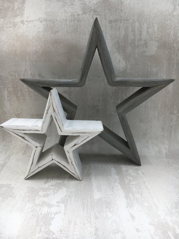 Grey and white mantlepiece stars