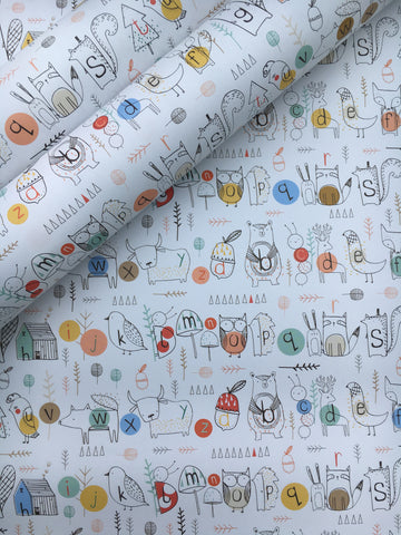 Woodland alphabet wrapping paper - Home Bee