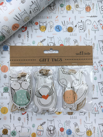 Woodland creatures alphabet gift tags - Home Bee