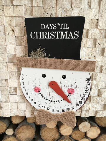 Count down till Christmas snowman plaque - Home Bee