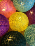 Multi coloured raffia lights - Home Bee