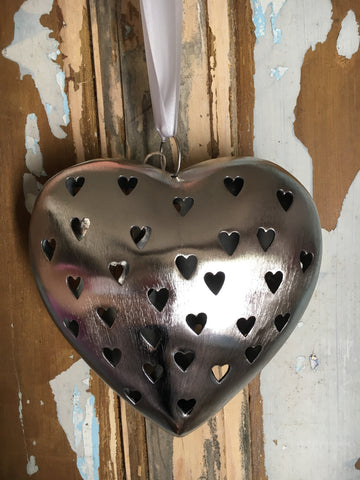 Decorative metal heart with heart cutout, small - Home Bee