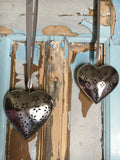 Decorative metal heart with diamond cutout, large - Home Bee