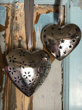 Decorative metal heart with flower cutout, large - Home Bee
