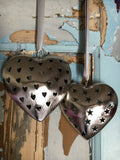 Decorative metal heart with heart cutout, large - Home Bee