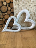 Pair of large white hanging hearts - Home Bee