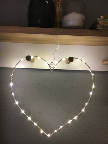 Wire LED light up heart - Home Bee