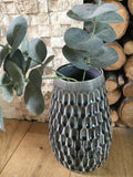 Smoke grey ridged vase - Home Bee