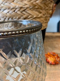 Clear diamond ridge candle holder