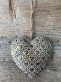 Antique gold hanging heart