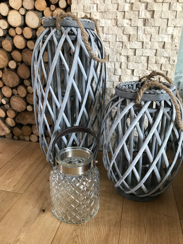 Grey woven lanterns - Home Bee
