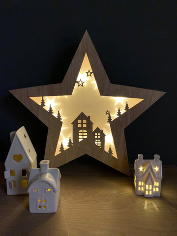 Wooden light up festive star - Home Bee