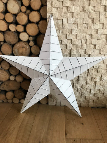 White Armish metal barn star - Home Bee