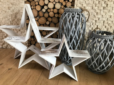 White wooden rustic stars set - Home Bee