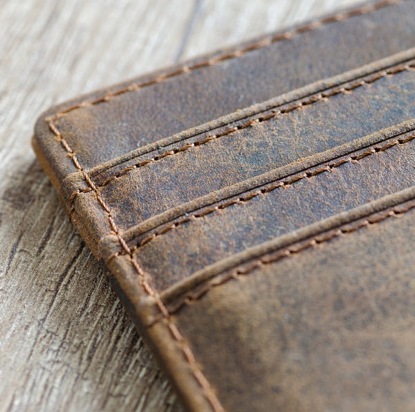 Embossed Grain Leather Card Holder