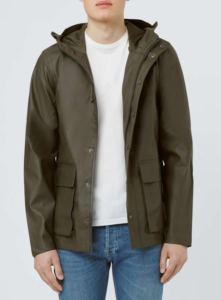 A Khaki Showerproof Rubberised Parka