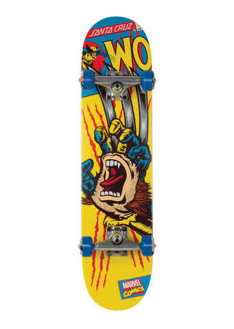 Santa Cruz  Marvel Wolverine Hand Medium 7.25 Pre-Assembled  Complete Skateboard