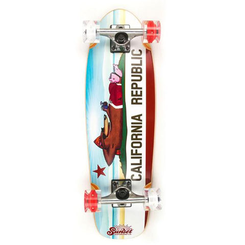 "Sunset Skateboards California Bear 8.25"" Longboard Cruiser"