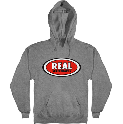 Real Og Oval Gunmetal Heather LG Hooded Sweater