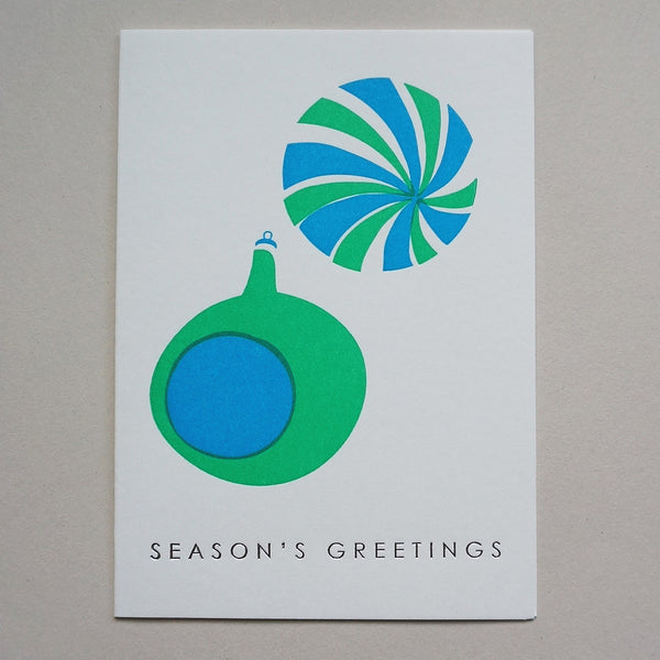 Letterpress card - baubles