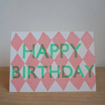 wood type birthday - harlequin