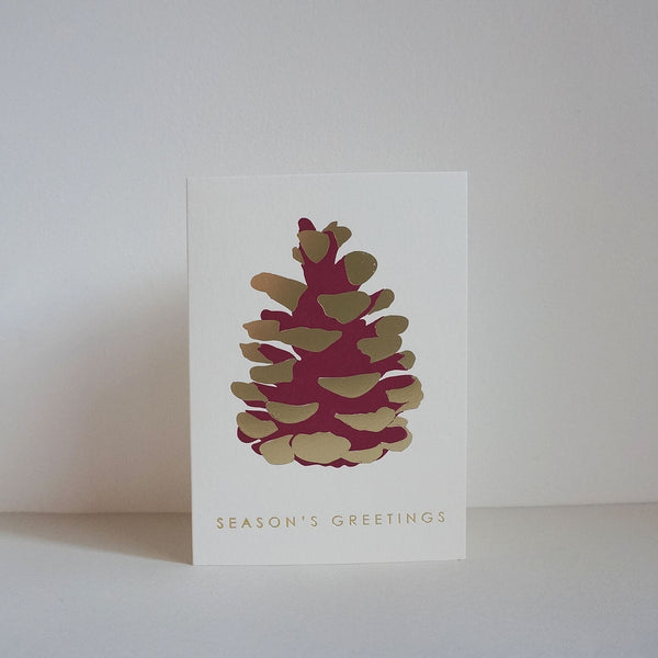Letterpress card - fir cone gold