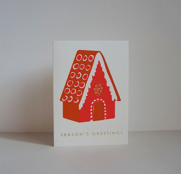 Letterpress card - gingerbread house