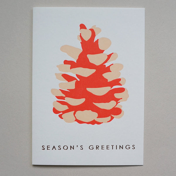 Letterpress card - fir cone pink
