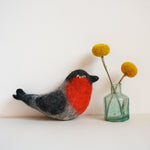Wet felt red bird decoration