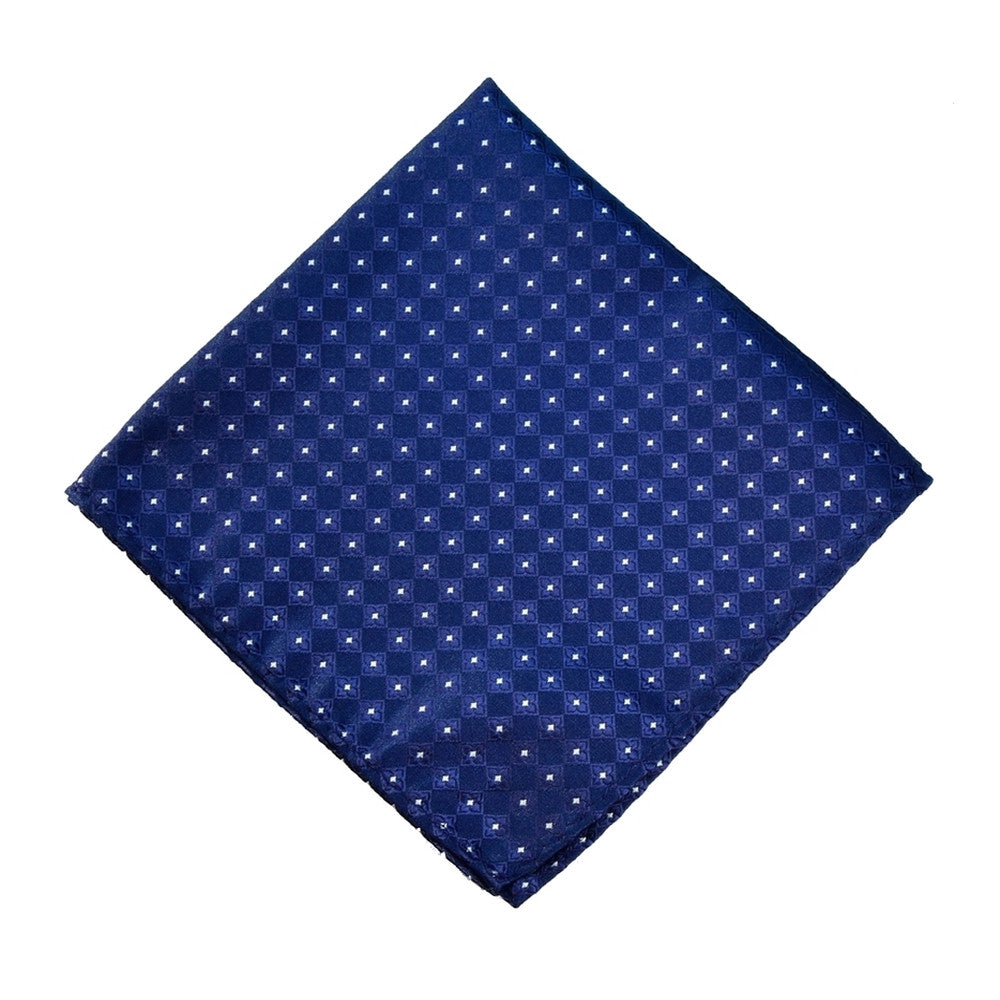 BLUE POCKET SQUARE MADE IN SILK, FLOWER PATTERNS, SATIN FABRIC - TIESHOPROME