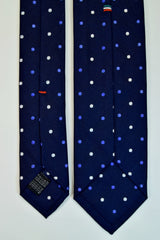 MIDNIGHT EXPRESS BLUE, LIGHT SLATE BLUE, AND WHITE DOTS SEVEN FOLDS SILK LIMITED EDITION NECKTIE, POLKA DOTS, BASKET FABRIC WEAVE-TIE SHOP ROME FULL