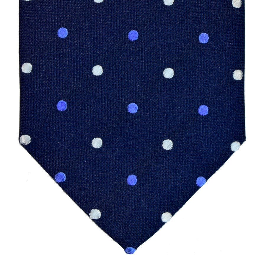 MIDNIGHT EXPRESS BLUE, LIGHT SLATE BLUE, AND WHITE DOTS SEVEN FOLDS SILK LIMITED EDITION NECKTIE, POLKA DOTS, BASKET FABRIC WEAVE-TIE SHOP ROME