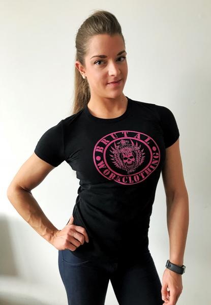 Bwc Pink Logo on black women shirt