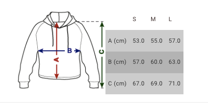 size chart women cropped hoodies