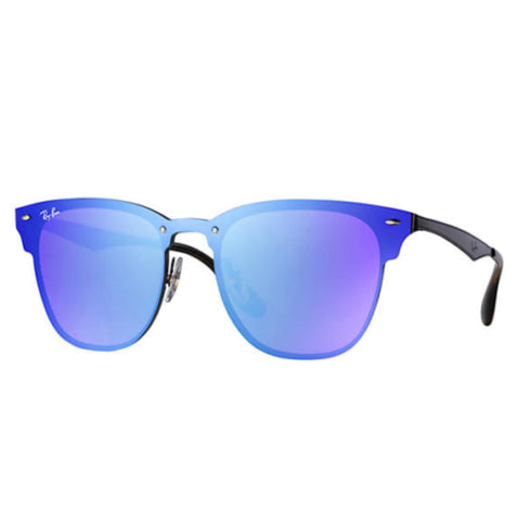 Ray-Ban RB3576N Blaze Clubmaster Black Frame Violet Blue Mirror Lenses Unisex Sunglasses 47mm