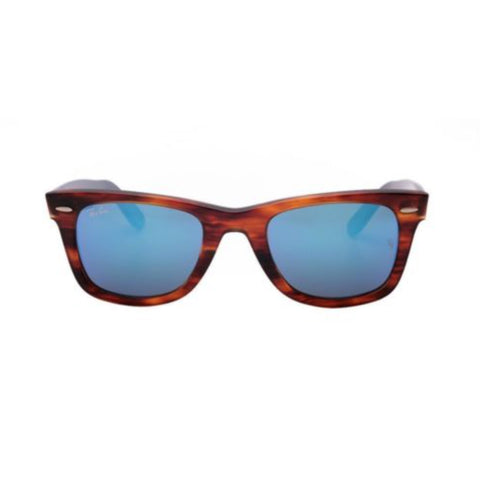 Ray Ban Unisex Wayfarer Sunglasses Having Tortoise Brown Frame With Blue Lens And Mirrored Lens Technology