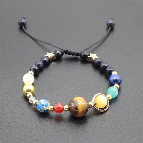 Universe Solar System Planets Natural Stone Beads Bracelet Bangle for Women or Men