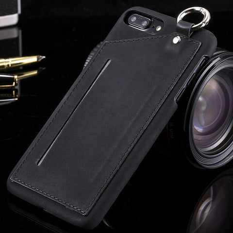 Wallet Case For iphone 7 6 6s Plus Cover Vintage Slim PU Leather Phone Cases With Card Holder Slots Metal Ring