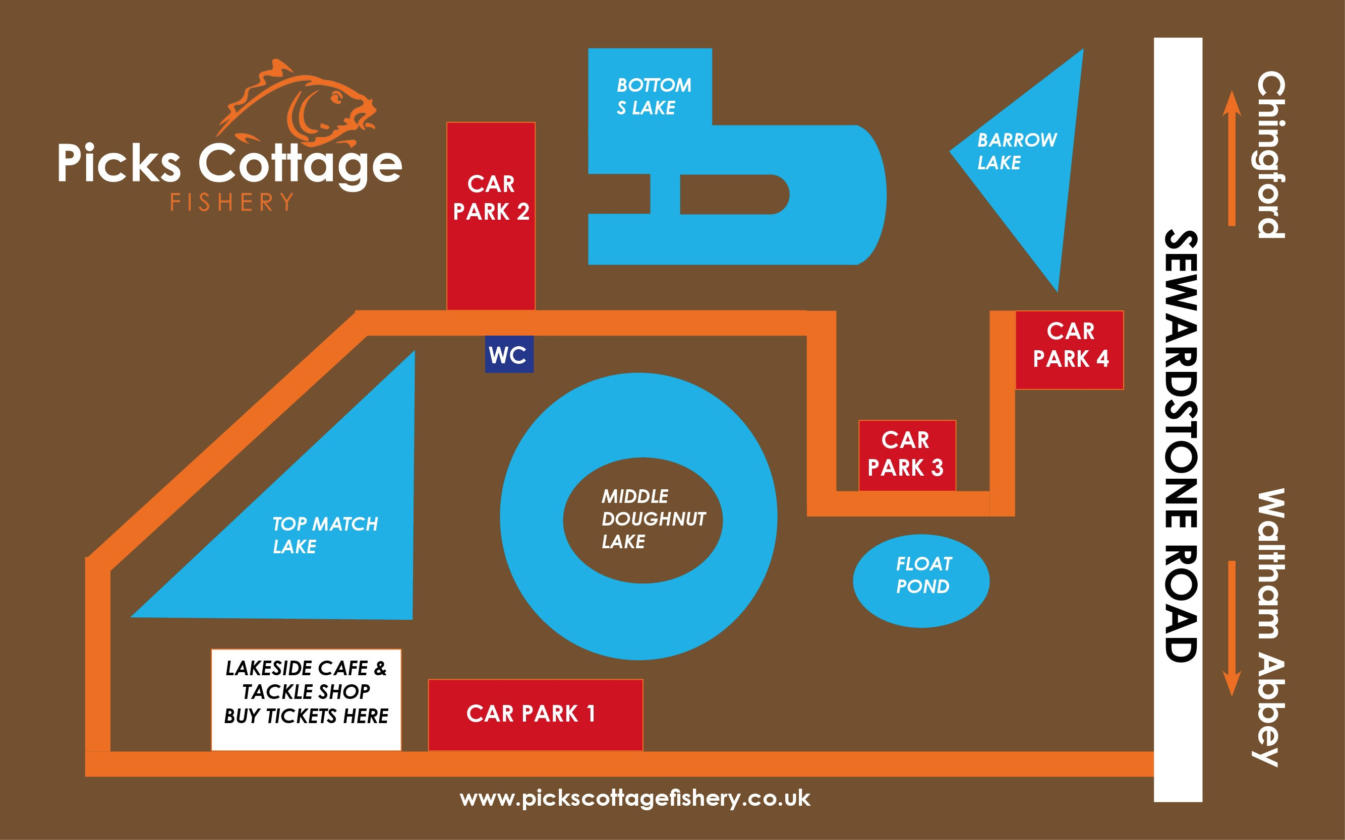 Picks Cottage Fishery Map