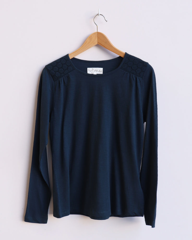 Stacey Lace Long Sleeve Tee - Navy