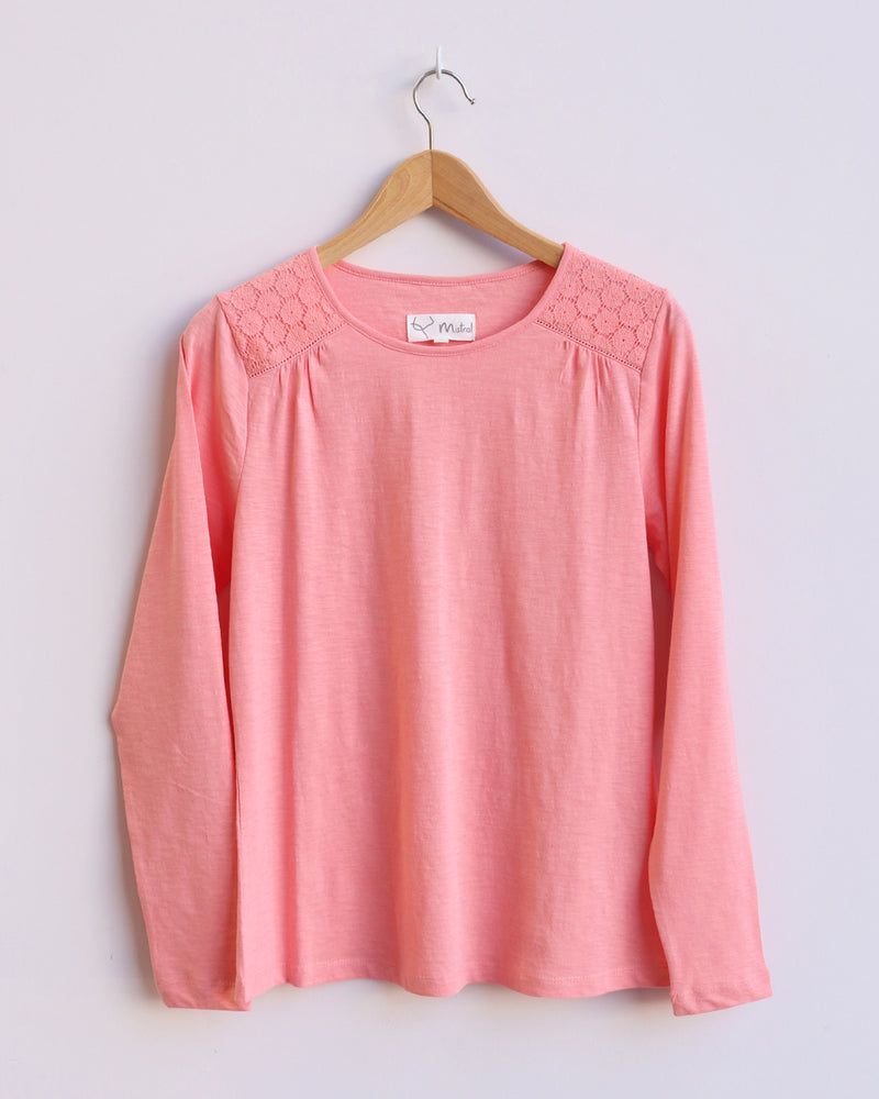 Stacey Lace Long Sleeve Tee - Peach