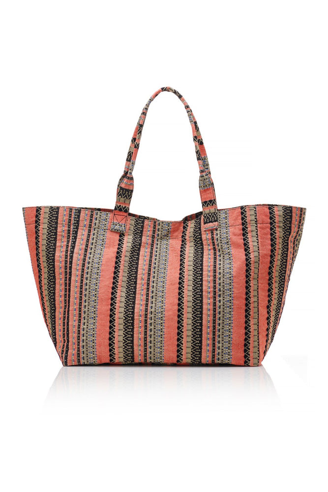 Beach Tote - Coral / Black
