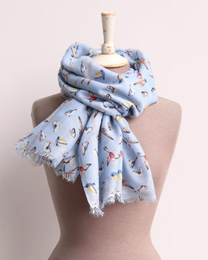 Nicola Bird Print Scarf - Light Blue