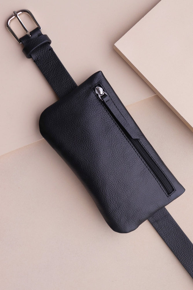 Belt Bag - Black Leather - Ollie & Nic