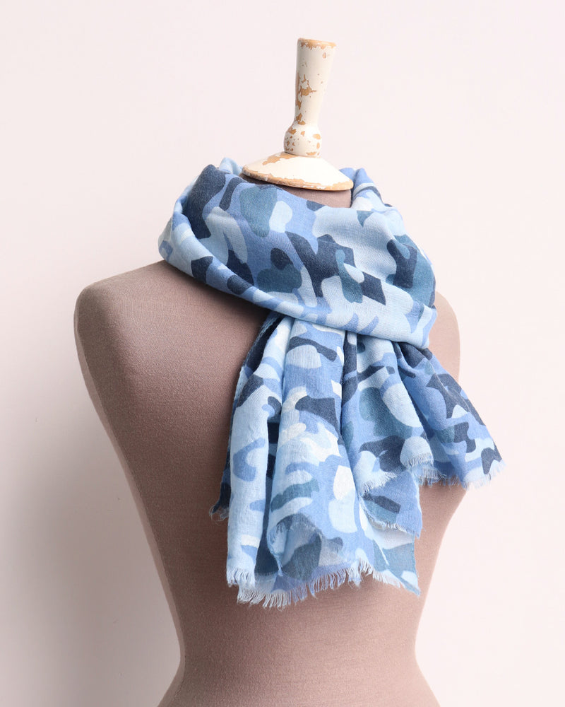 Load image into Gallery viewer, Curtis Camo Print Scarf - Blue