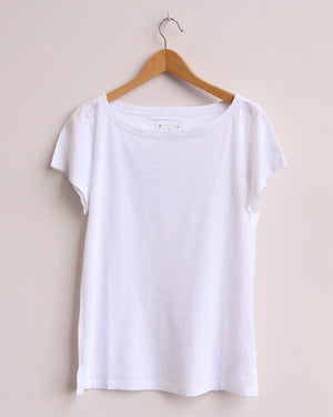 Boat Neck Tee - White