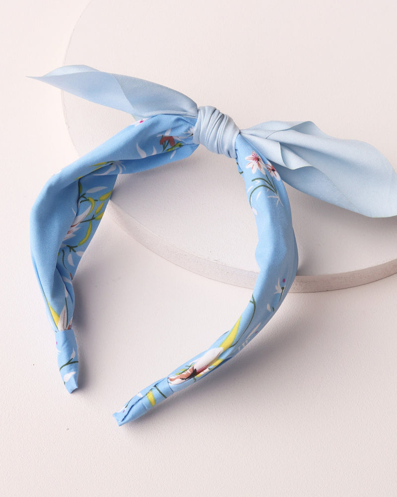 Floral Print Bow Headband - Blue
