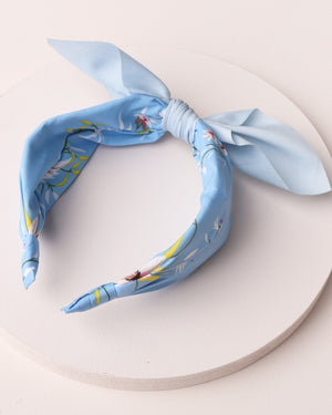 Load image into Gallery viewer, Floral Print Bow Headband - Blue